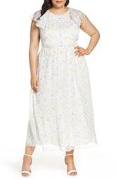 CeCe Provence Floral Ruffle Hem Maxi Dress