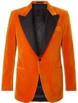 Kingsman Orange Eggsy's Slim-Fit Faille-Trimmed Cotton-Velvet Tuxedo Jacket