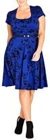 City Chic Plus Size Women's Birdy Flock Fit & Flare Dress