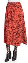 Proenza Schouler Scribble-Print Flared Skirt, Crimson/Black
