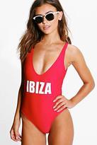 Boohoo Petite Flora 'Ibiza' Slogan Swimsuit