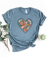 Simply Sage Market Women's Tee Shirts Slate - Slate & Black Floral 'Losing My Mind & Finding My Heart' Crewneck Tee - Women