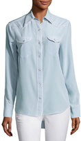 Rag & Bone Jesse Pearly-Snap Western Shirt with Contrast Piping, Light Gray