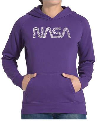 La Pop Art Women Word Art Hooded Sweatshirt -Worm Nasa