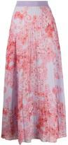 Giambattista Valli poppy-print pleated chiffon skirt