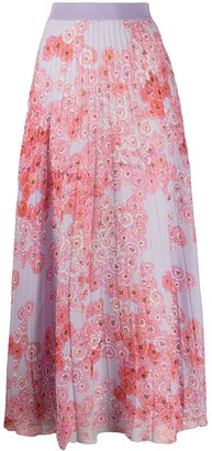Giambattista Valli Poppy-Print Pleated Chiffon Skirt