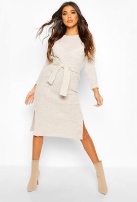 boohoo Rib Knit Tie Waist Midaxi Dress