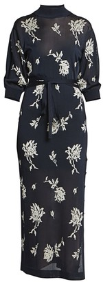 Chloé Floral Mockneck Knit Midi Dress