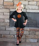 Beary Basics Black Pumpkin Bell-Sleeve Tee & Leggings - Toddler & Girls