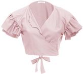 Vivetta Ruffle Sleeve Cropped Blouse