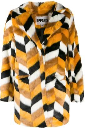 Apparis faux-fur chevron coat