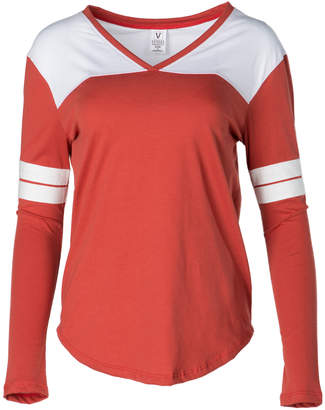 Venley Women's Tee Shirts Texas - Texas Orange & White Long-Sleeve Hockey Tee - Women