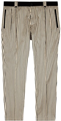 Dolce & Gabbana Ivory And Black Striped Cotton-blend Chinos