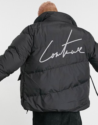 The Couture Club essential signature puffer coat with back logo in black