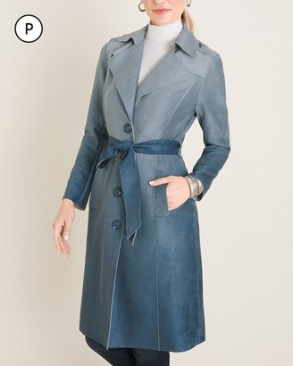 Chico's Petite Ombre Faux-Suede Trench Coat