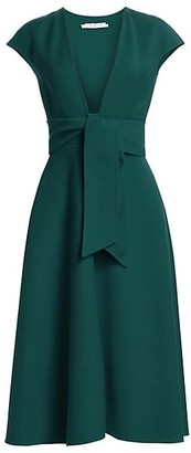 Oscar de la Renta V-Neck Crepe Belted Dress