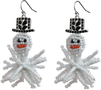 Holiday Silver Tone White Beaded Snowman Drop Earrings