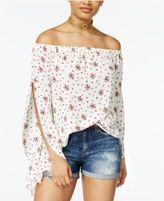 Ultra Flirt Juniors' Printed Off-The-Shoulder Top