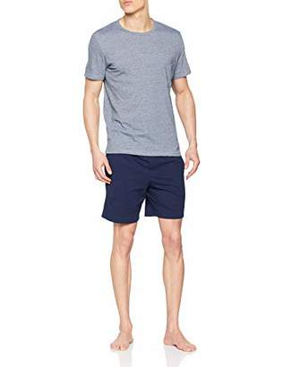 Hom Men's Short Sleepwear Pyjama Set, Blue (Haut Chiné, Bas: Marine Uni 00ra), Medium