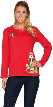 Quacker Factory Holiday Fun Long Sleeve Snap Front Cardigan