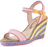 Sophia Webster Lucita Striped Wedge Sandal, Pastel Pink