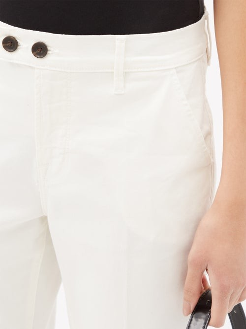 Thumbnail for your product : Frame Le Beau Cotton-blend Cropped Chino Trousers - Ivory