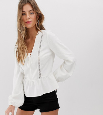 Miss Selfridge linen blouse with lace insert in ivory
