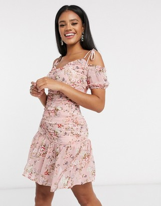 Pretty Darling ruched detail peplum dress in floral