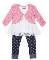 Little Lass Girls 2-6x Knit and Chiffon Top and Leggings Set