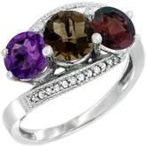 Gabriella Gold 10K White Gold Natural Amethyst, Smoky Topaz & Garnet 3 stone Ring Round 6mm Diamond Accent, size 7