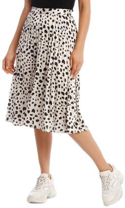 Missguided Irregular Print Pleated Midi Skirt