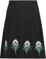 Markus Lupfer Embroidered crepe skirt
