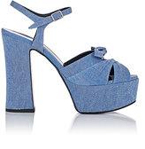 Saint Laurent Women's Candy Denim Platform Sandals-BLUE
