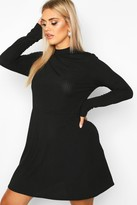 boohoo PLus Jumbo Rib Long Sleeve Smock Dress