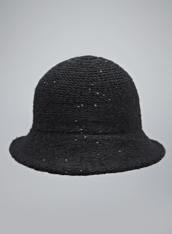 Collection XIIX Black Knit Sequined Cloche