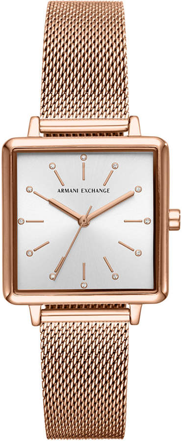Armani Exchange Women Lola Rose Gold-Tone Stainless Steel Mesh Bracelet Watch 30mm
