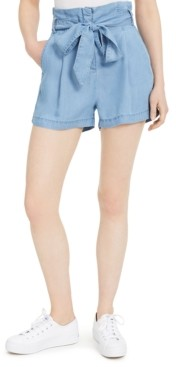 Numero Chambray Cotton Paperbag-Waist Shorts