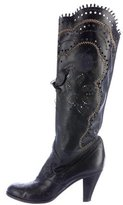 Anna Sui Leather Laser Cut Boots
