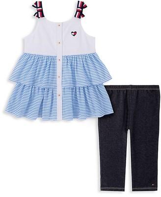 Tommy Hilfiger Little Girl's 2-Piece Ruffle Dress Leggings Set