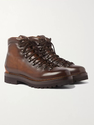 Ralph Lauren Purple Label Fidel Burnished-Leather Boots