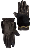 Rebecca Minkoff Goat Leather and Genuine Rabbit Fur Stud Accent Gloves