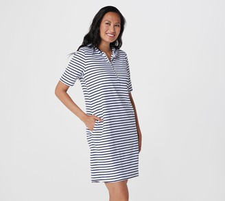 Denim & Co. Active Knit Terry Zip Front Elbow Sleeve Dress