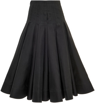Valentino Pleated Cotton-Silk Full Midi Skirt