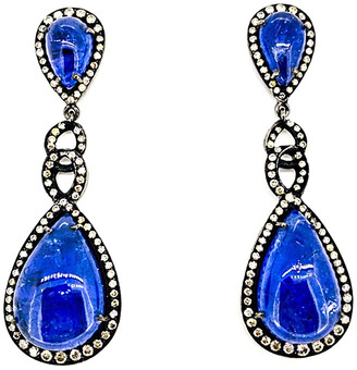 Arthur Marder Fine Jewelry Silver 42.10 Ct. Tw. Diamond & Tanzanite Earrings