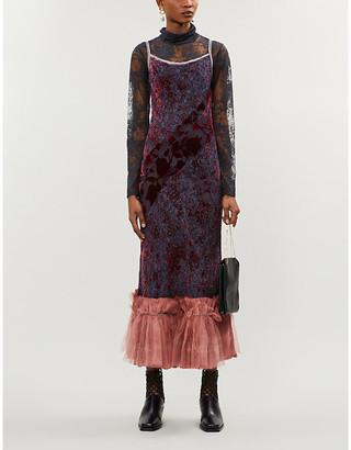 Phaedo Tulle-trimmed floral-print velvet dress