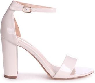 Linzi DAZE - Cream Patent Barely There Block High Heel