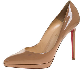 Christian Louboutin Beige Patent Leather Decollete Platform Pointed Toe Pumps Size 41