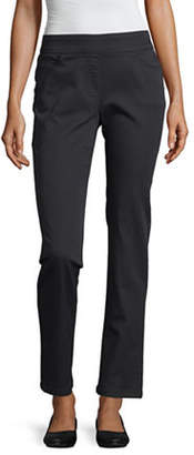 Liz Claiborne Womens Mid Rise Slim Pull-On Pants