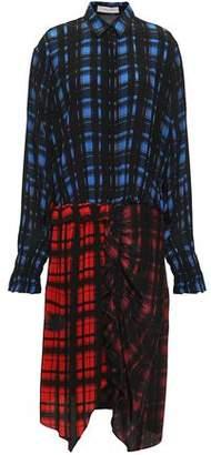 Preen Line Paneled Checked Crepe De Chine Shirt Dress