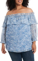 Vince Camuto Distressed Paisley Off the Shoulder Blouse Plus Size (2 colors)